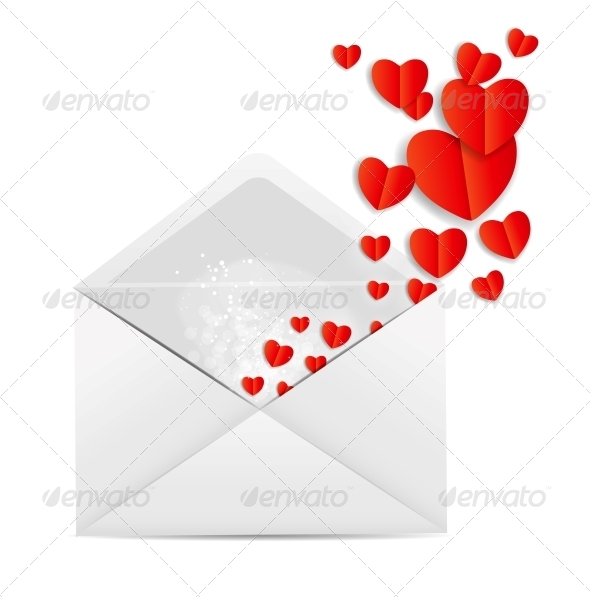 GraphicRiver Valentine`s Day Card with Envelope and Hearts 6317876
