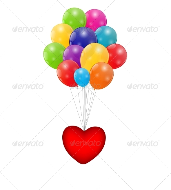 GraphicRiver Color Glossy Balloons with Heart Background 6317881