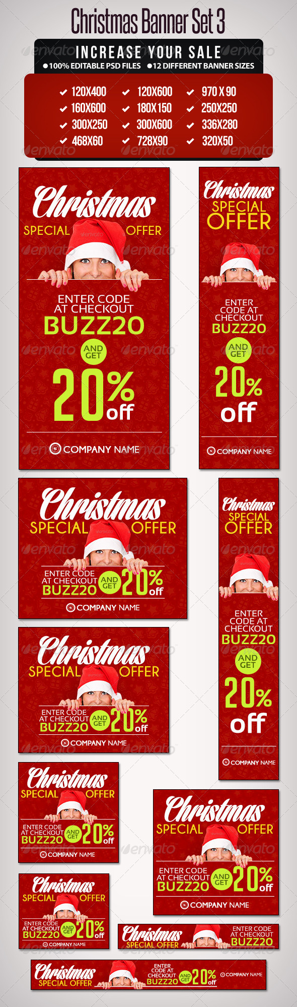 GraphicRiver Christmas Banner Set 3 12 Sizes 6318069