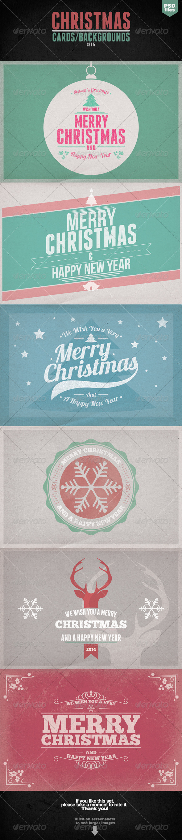 GraphicRiver Vintage Christmas Cards Backgrounds Set 5 6319230