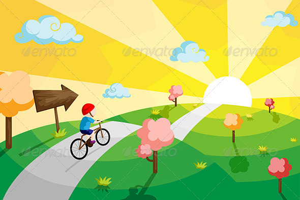 GraphicRiver Kid Riding Bicycle 6319385