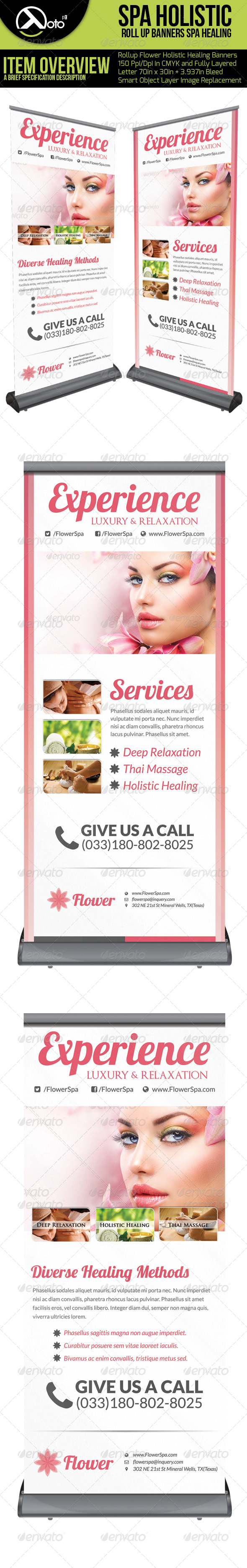 Flower Holistic Healing Roll Up Banners