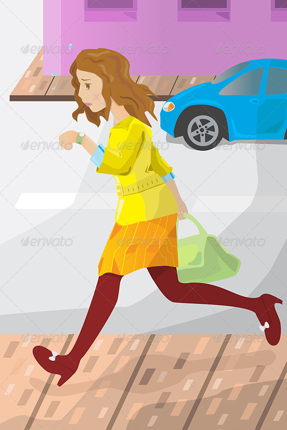 GraphicRiver Businesswoman Late for Work 6319598