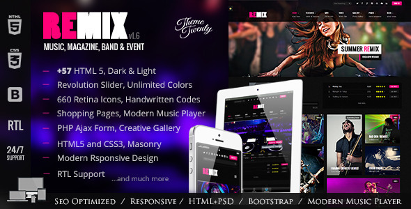 Remix - Music and Band HTML5 Template - Music and Bands Entertainment