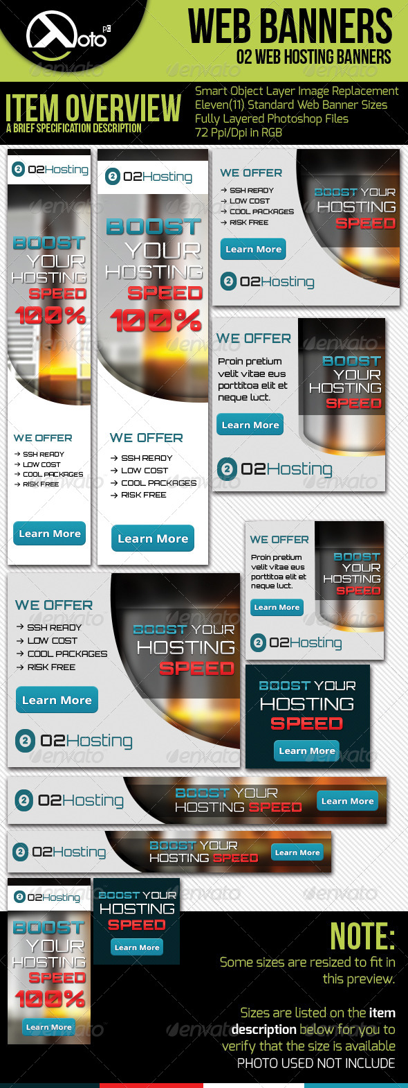 O2 Web Hosting Web Banners - Banners & Ads Web Elements