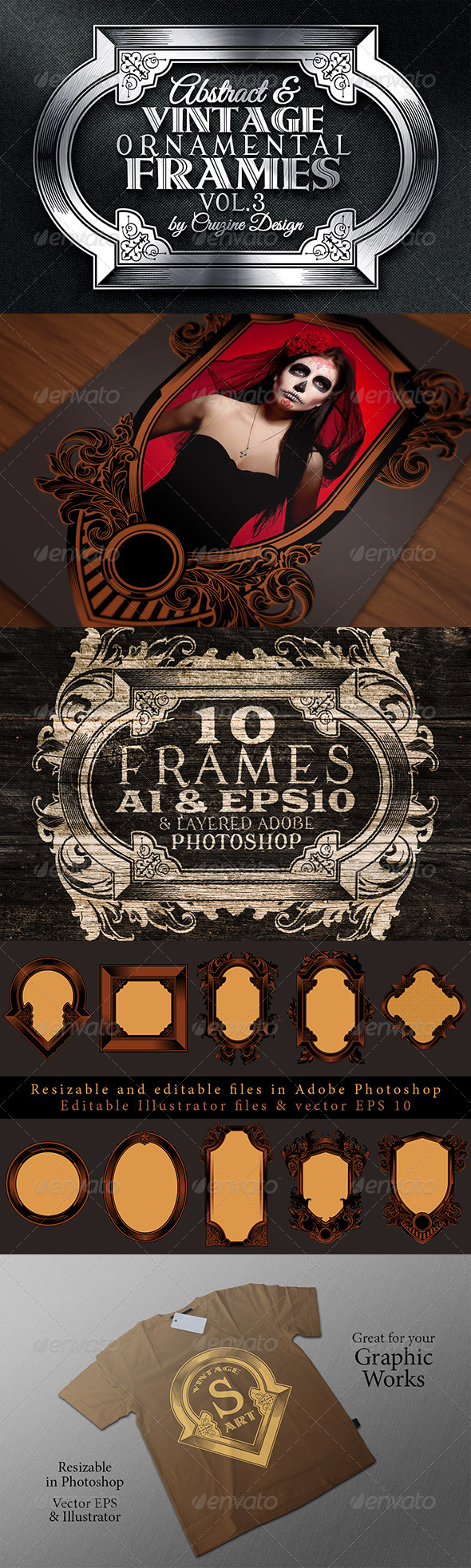 GraphicRiver 10 Frames Vol.3 Vintage Ornament 6320133
