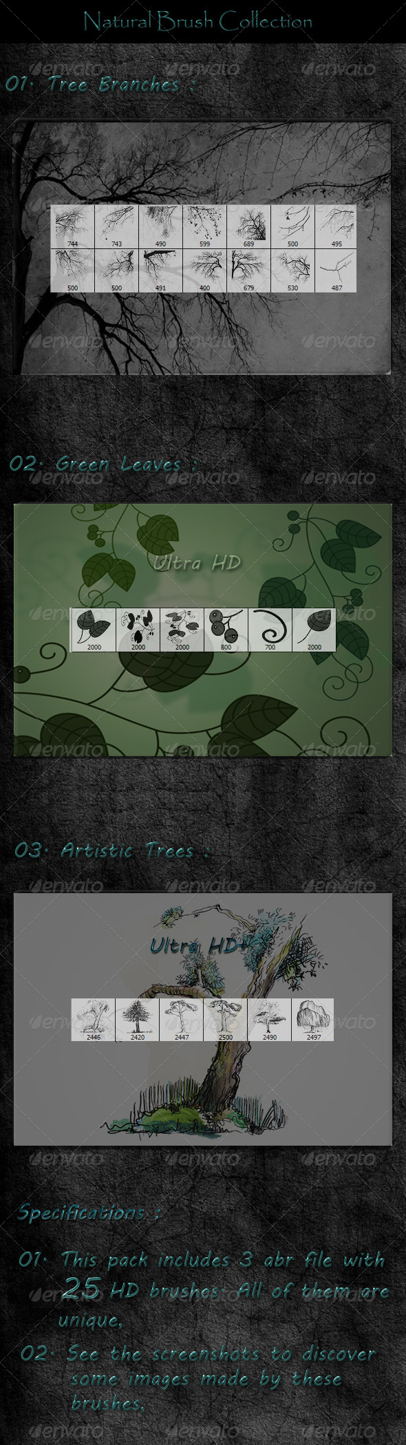 GraphicRiver 25 Natural Brush Collection Ultra HD 6320216