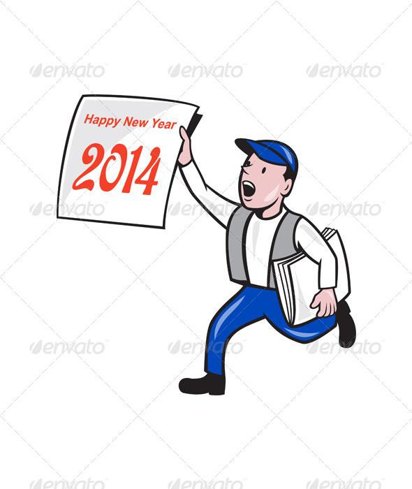 GraphicRiver New Year 2014 Newspaper Boy Showing Sign Cartoon 6320224