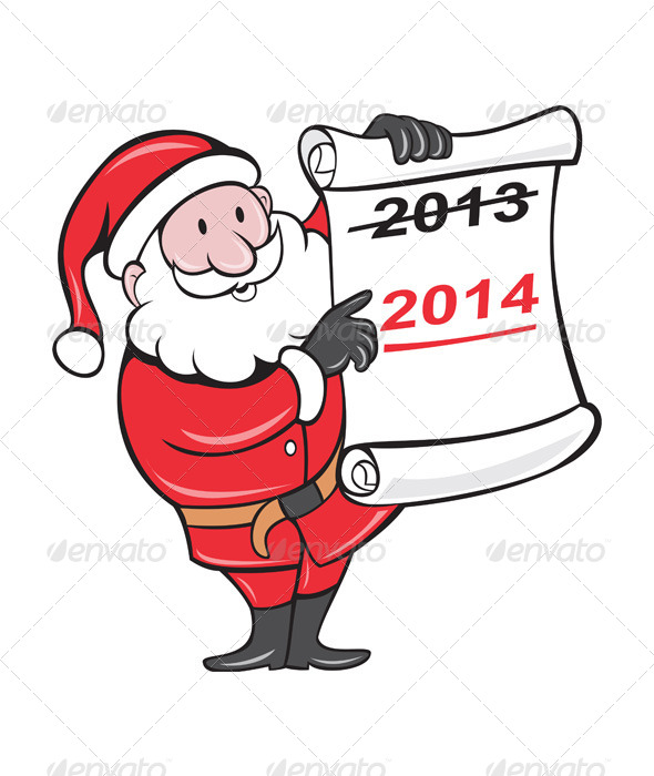 GraphicRiver New Year 2014 Santa Claus Scroll Sign 6320246