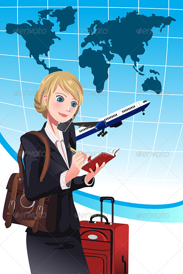 GraphicRiver Traveling Businesswoman 6320419
