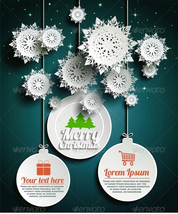 GraphicRiver Paper Snowflakes Merry Christmas Balls at Night 6320799