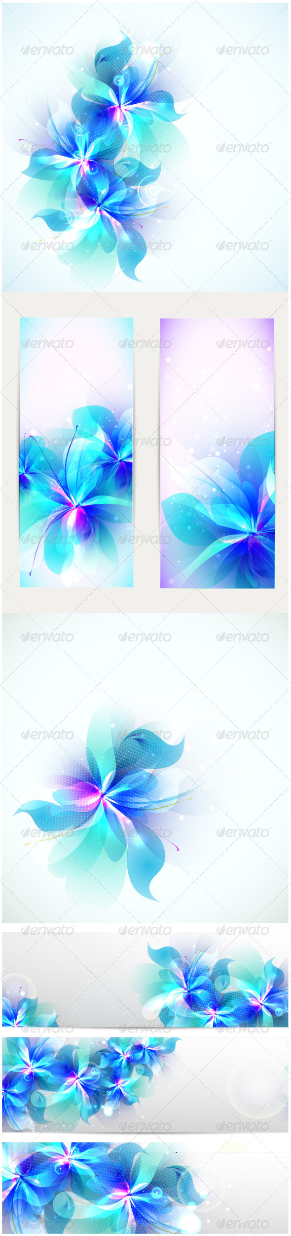 GraphicRiver Abstract Blue Flowers 6320871
