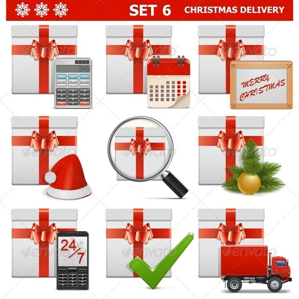 GraphicRiver Vector Christmas Delivery Set 6 6321014