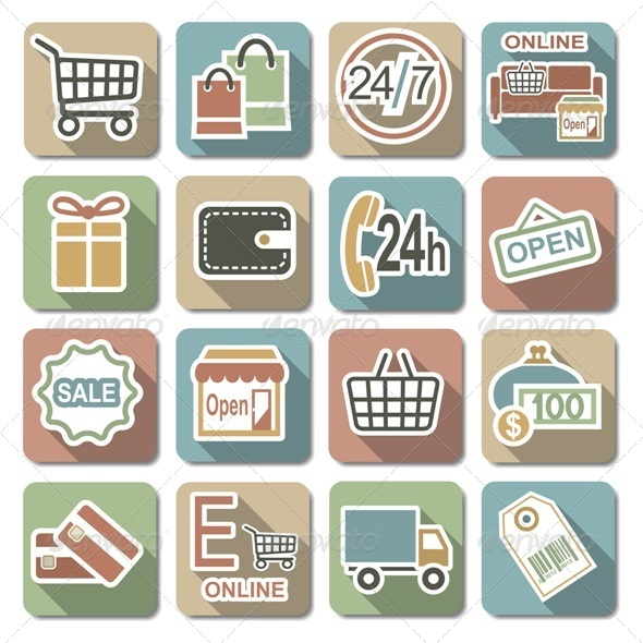 GraphicRiver Vector Shopping Flat Icons 6321214