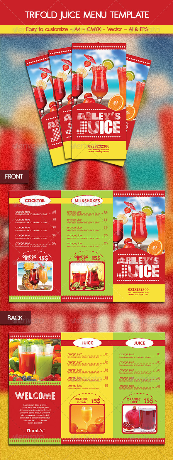 GraphicRiver Trifold Juice Menu Template 6321530