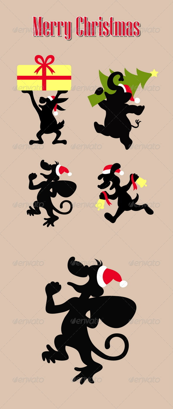 GraphicRiver Christmas Animal Activity Silhouettes 6321547