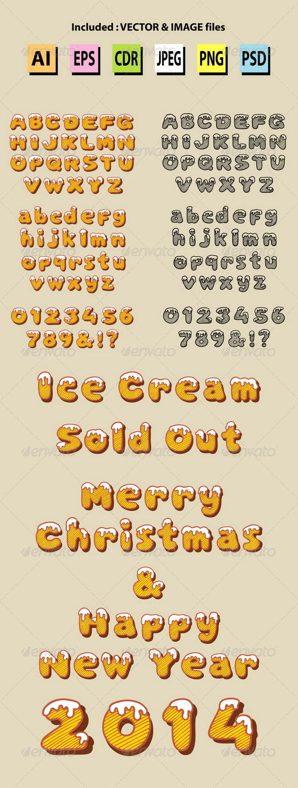 GraphicRiver Snow Alphabet Hand Drawn Vector 6285216