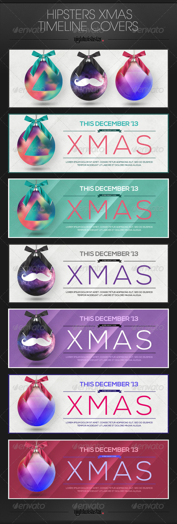 GraphicRiver Hipster Christmas Facebook Timeline Covers 6321707