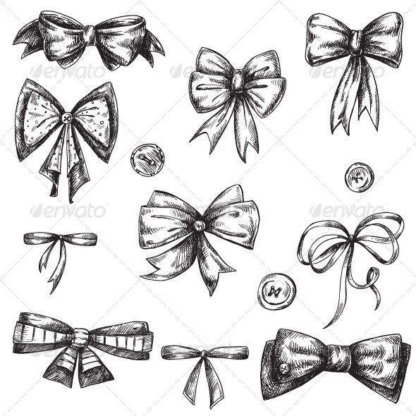 GraphicRiver Set of Bows Hand Drawn 6321723