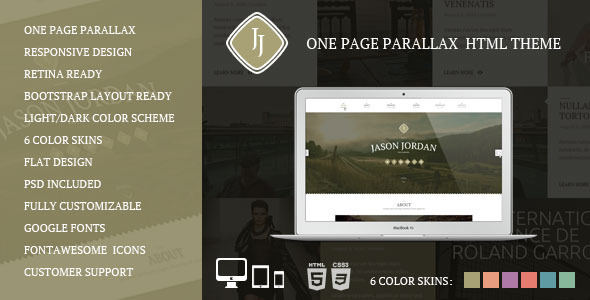 ThemeForest JJ One Page Parallax HTML Theme 6264722