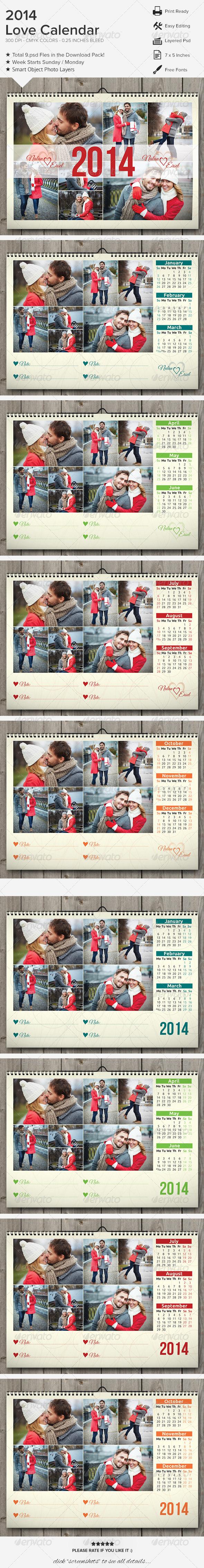 GraphicRiver Love Calendar 2014 6318037