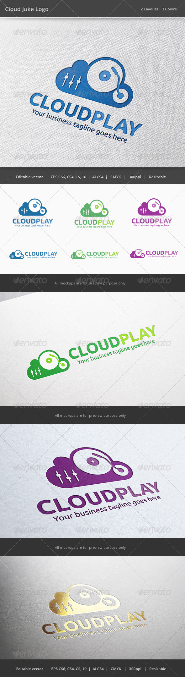 GraphicRiver Cloud Music Player Logo 6322320