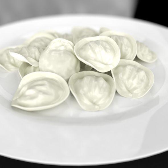 3DOcean Pelmeni Ravioli Dumplings Plate 6322322