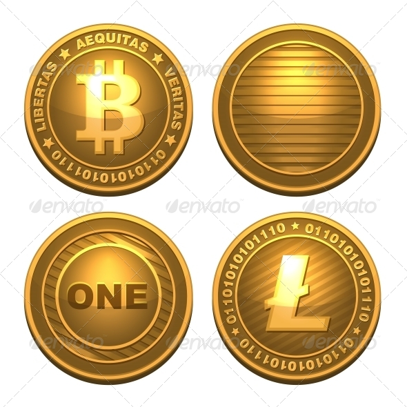 GraphicRiver Bitcoin and Litecoin Isolated on White 6322723