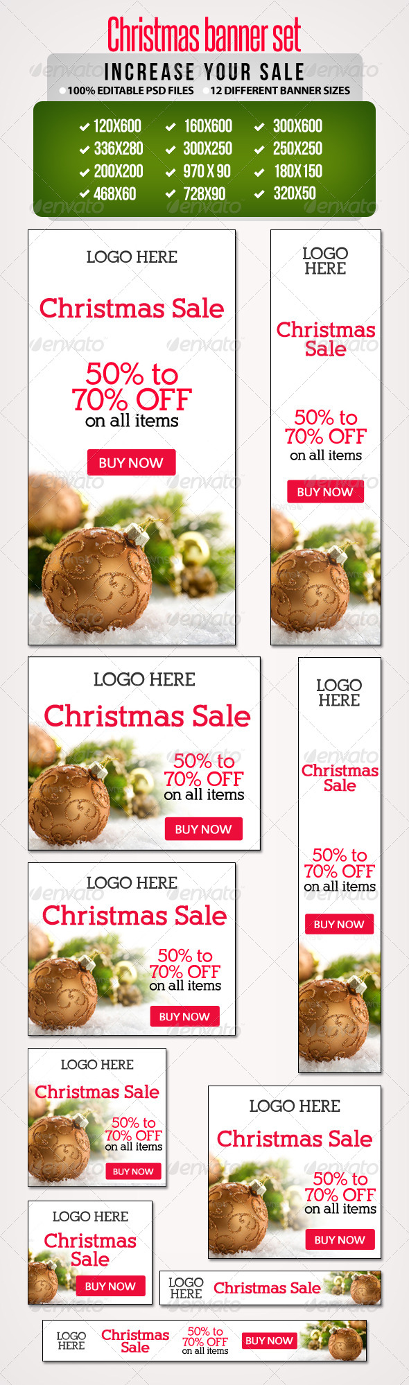 GraphicRiver Christmas Sale Banner Set 1 12 Sizes 6322755
