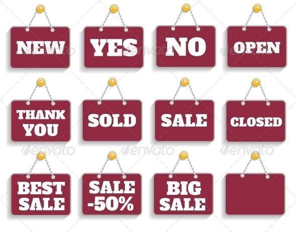 GraphicRiver Shopping Sign Board Set 6322773