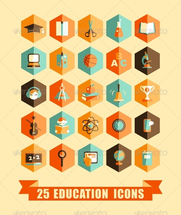 GraphicRiver Flat Education Icons 6273741