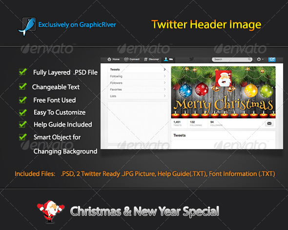 GraphicRiver Christmas Twitter Header Image 6323696