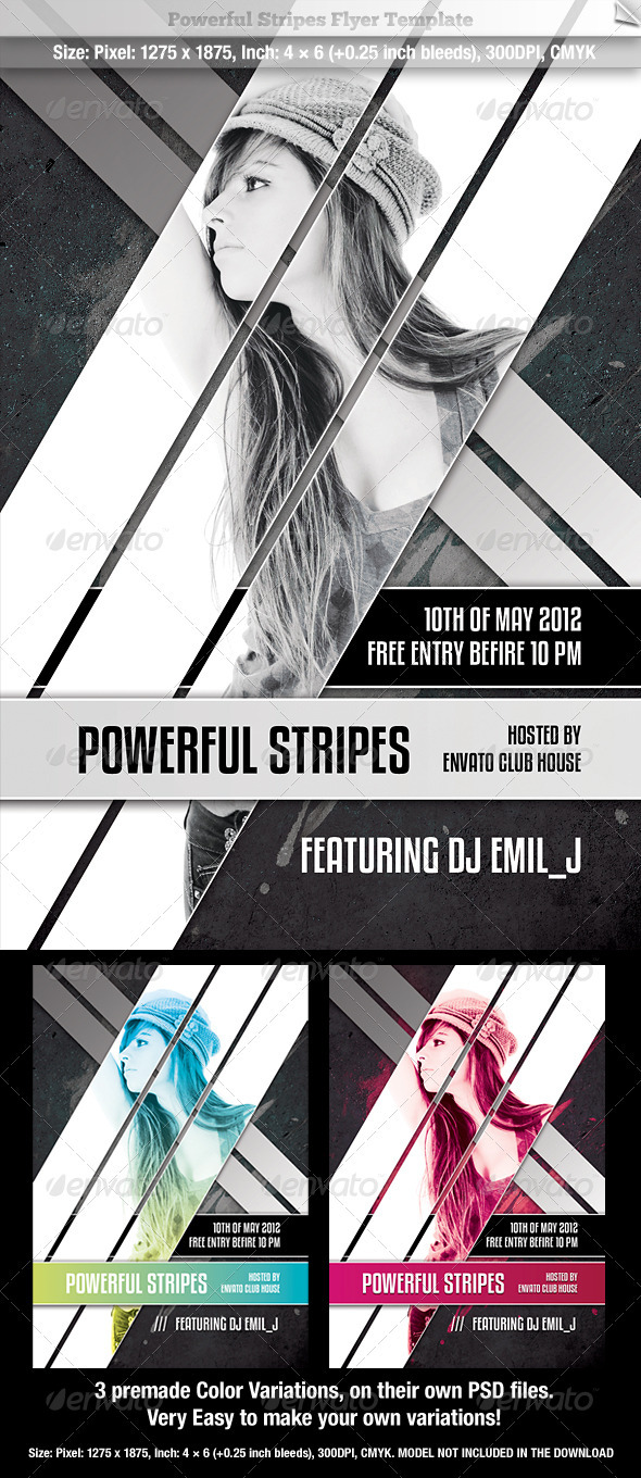 GraphicRiver Powerful Stripes Flyer Template 659722
