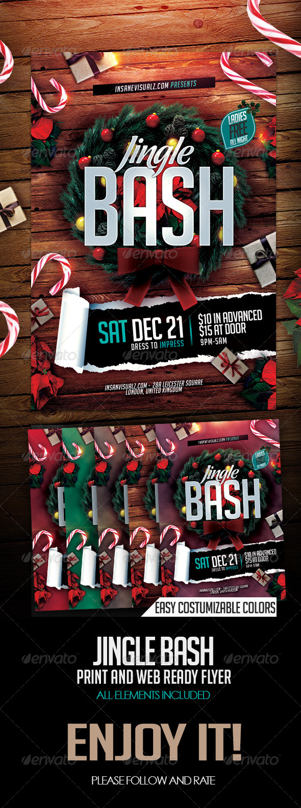 Jingle Bash Xmas Flyer PSD - Flyers Print Templates