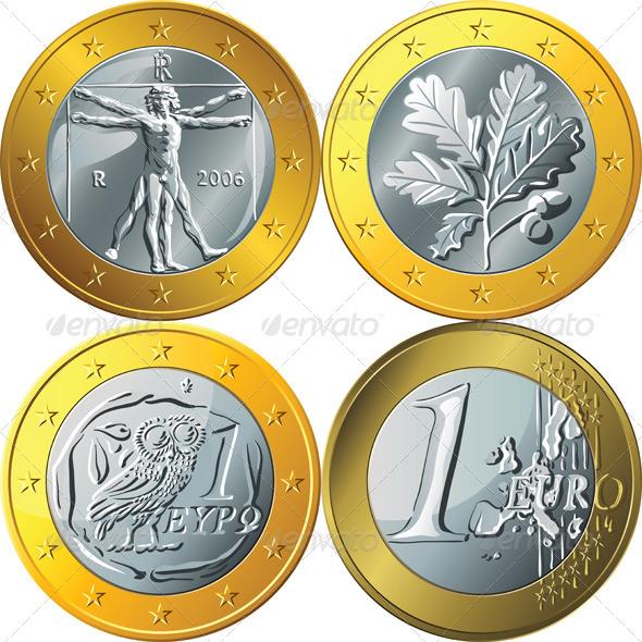 GraphicRiver Gold Euro Coin Set 6324486