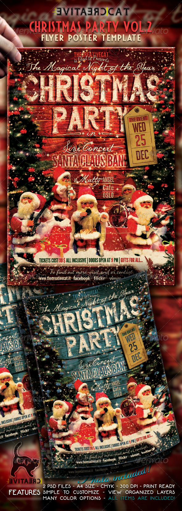 GraphicRiver Christmas Party-Vintage Style-Flyer Poster Vol 2 6324567