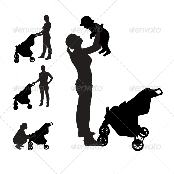 GraphicRiver Mother with Pram Silhouettes 6324790