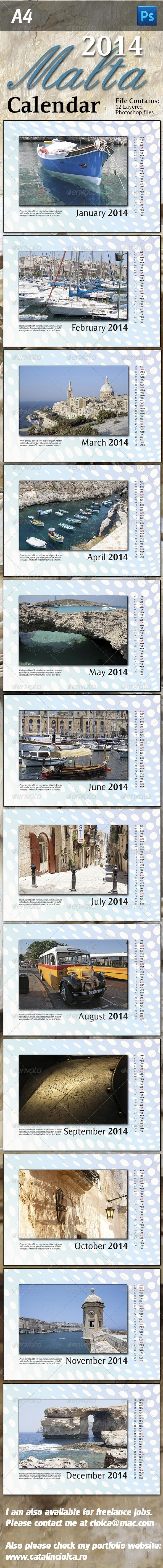 2014 Malta Images Calendar - Miscellaneous Print Templates
