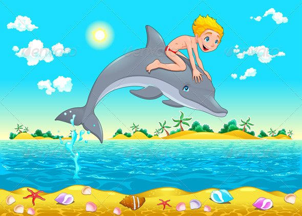 GraphicRiver The Boy and the Dolphin in the Sea 6325664