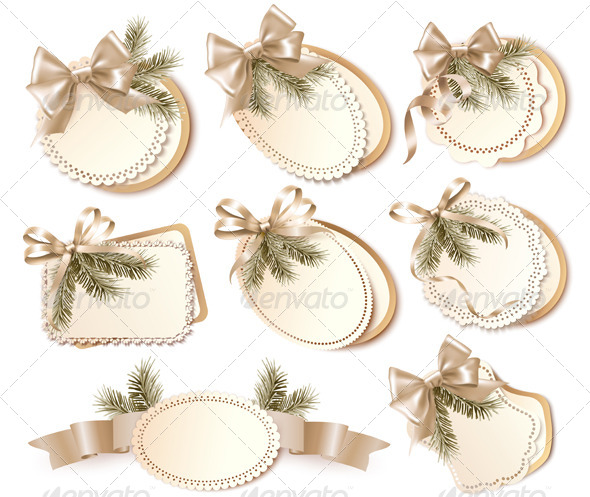 GraphicRiver Set of Christmas Gift Cards with Gift Bows 6326415