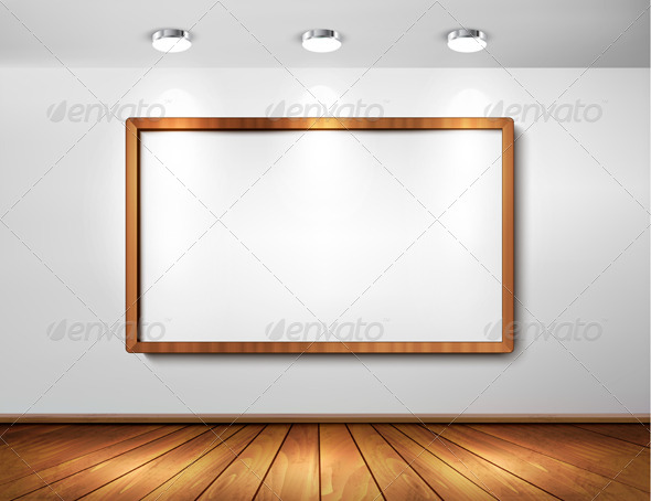 GraphicRiver Empty Wooden Frame on a Wall with Spotlights 6326419