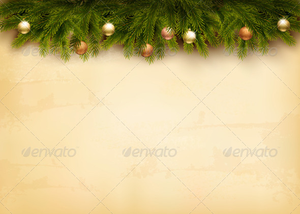 GraphicRiver Christmas Decoration on Old Paper Background 6326465