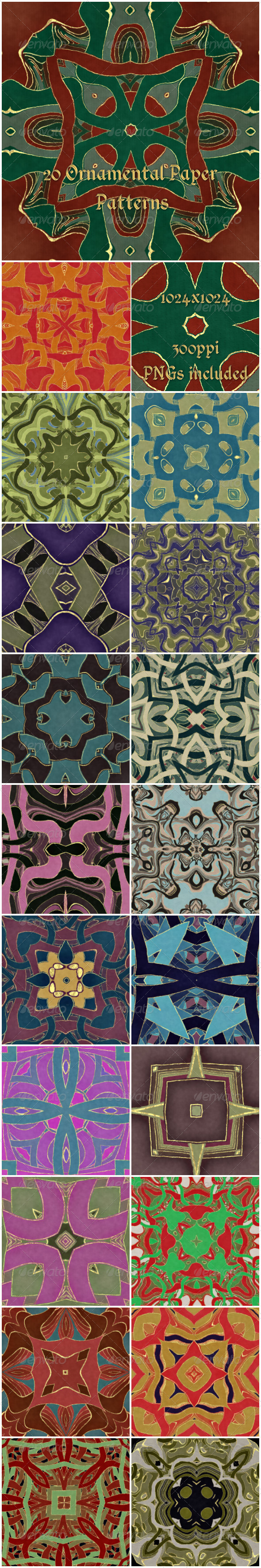 20 Ornamental Paper Patterns - Artistic Textures / Fills / Patterns