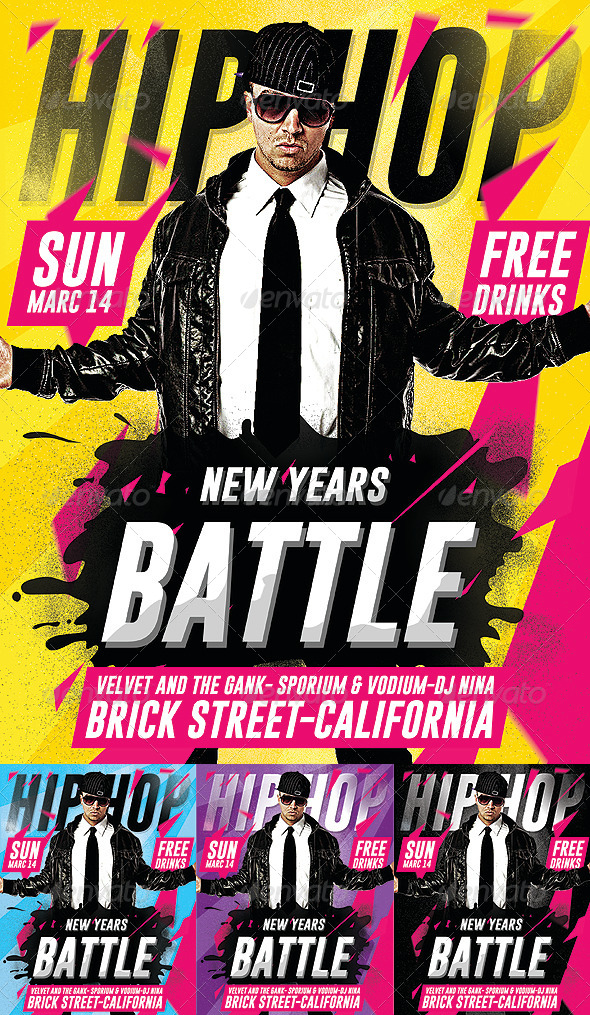 GraphicRiver Hip Hop New Year Battle Psd Flyer 6326478