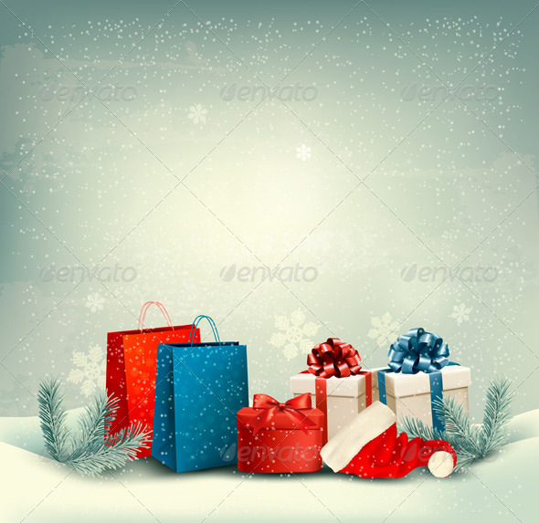 GraphicRiver Christmas Winter Background with Presents 6326488