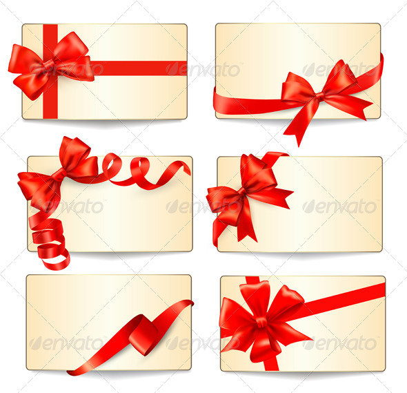 GraphicRiver Set of Cards with Red Gift Bows 6326499