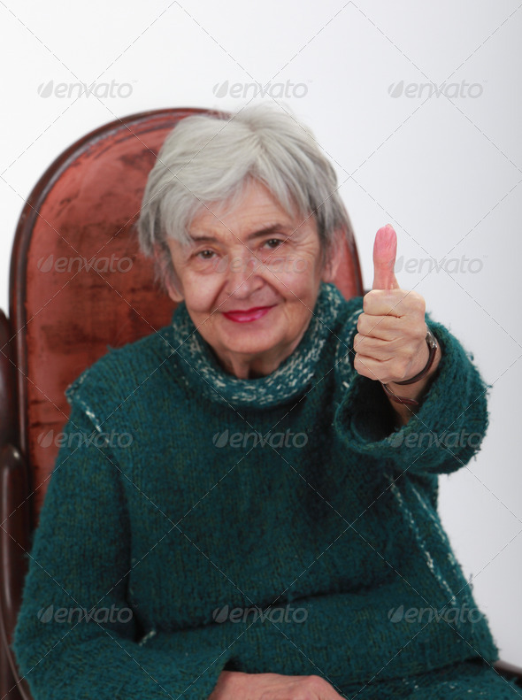 Senior Woman with Her  Thumb Up - Stock Photo - Images
