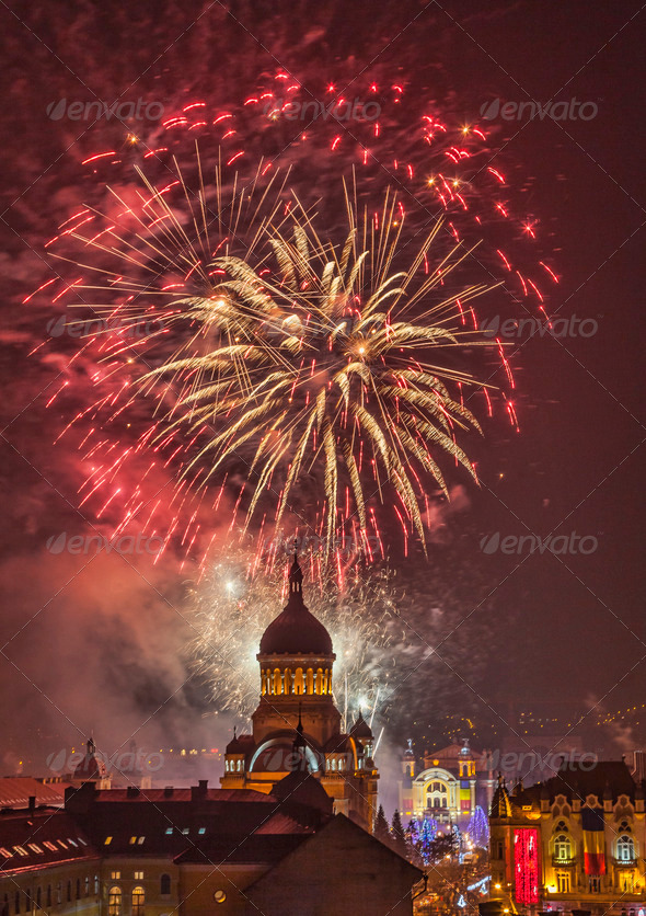 Fireworks in Cluj Napoca , Romania - Stock Photo - Images