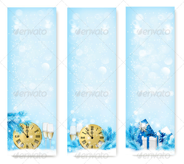 GraphicRiver Three Holiday Banners with Clock 6326561