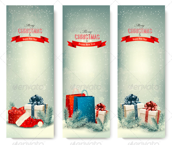 GraphicRiver Three Retro Holiday Banners with Gift Boxes 6326565